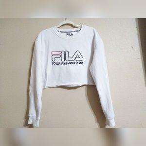 Fila x Rowa Py64nhcknn White Crop Top Sweater